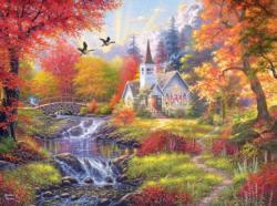 Woodland Church Lakes / Rivers / Streams Jigsaw Puzzle