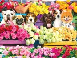 Flower Market Pups Dogs Jigsaw Puzzle