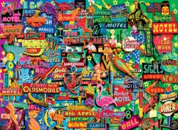 Neon Retro Signs Everyday Objects Jigsaw Puzzle