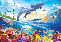 Playful Summer Dolphins Dolphins Jigsaw Puzzle