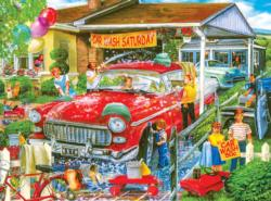 Car Wash Saturday Domestic Scene Jigsaw Puzzle