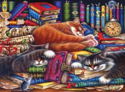 The Old Book Shop Cats - Scratch and Dent Domestic Scene Jigsaw Puzzle