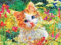 Cute Kitten In The Flowers Cats Jigsaw Puzzle