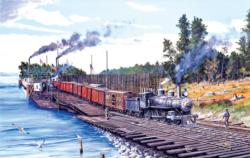 Crossing Columbia Trains Jigsaw Puzzle