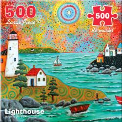 Lighthouse Folk Art Jigsaw Puzzle