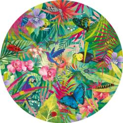 Tropical Plants Round Jigsaw Puzzle