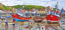Seagulls at Staithes Seascape / Coastal Living Panoramic Puzzle