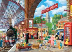 Awaiting Departure Trains Jigsaw Puzzle