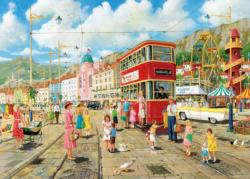 Taking the Tram Street Scene Jigsaw Puzzle