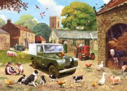 A Busy Yard Nostalgic / Retro Jigsaw Puzzle