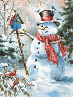 Frosty's Feathered Friends Snowman Jigsaw Puzzle
