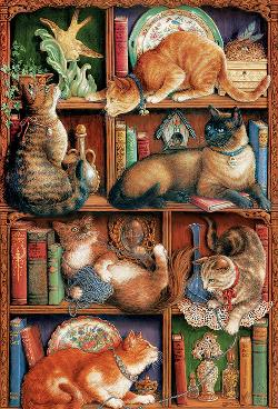 Feline Bookcase Cats Jigsaw Puzzle