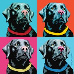 Woofhol - Black Labrador Retriever (PawPalettes) Collage Jigsaw Puzzle