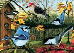 Blue Jay and Friends Fall Jigsaw Puzzle