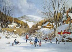 Hockey on Frozen Lake Winter Jigsaw Puzzle