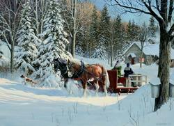 Sugar Shack Horses Snow Jigsaw Puzzle
