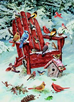 Adirondack Birds - Scratch and Dent Snow Jigsaw Puzzle