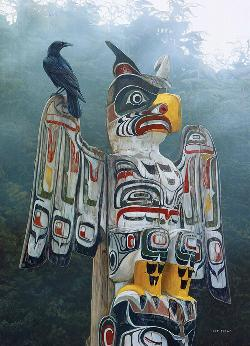 Totem Pole in the Mist - Scratch and Dent Native American Jigsaw Puzzle