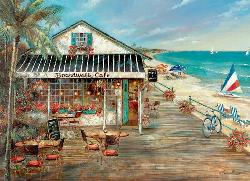 Boardwalk Cafe Seascape / Coastal Living Jigsaw Puzzle