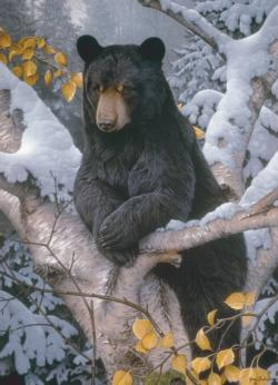 Black Bear Snow Jigsaw Puzzle