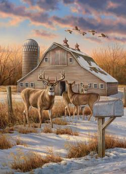 Rural Route Deer Jigsaw Puzzle
