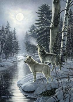 Wolves by Moonlight Snow Jigsaw Puzzle