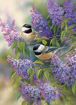 Chickadees and Lilacs Flowers Jigsaw Puzzle