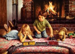 Firelight Express - Scratch and Dent Domestic Scene Jigsaw Puzzle