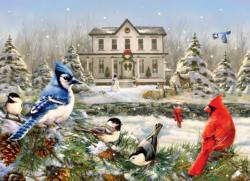 Country House Birds Snow Jigsaw Puzzle