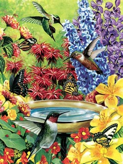 Hummingbird Garden - Scratch and Dent Flowers Jigsaw Puzzle