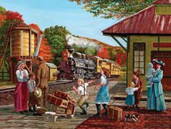 Waiting for the Train Trains Jigsaw Puzzle