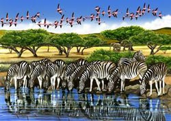 Zebras and Flamingos - Scratch and Dent Zebras Jigsaw Puzzle