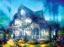 Halloween Lane House Halloween Jigsaw Puzzle