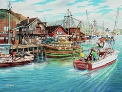 Fishing Harbor Seascape / Coastal Living Jigsaw Puzzle