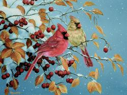 Winter Cardinals Winter Jigsaw Puzzle