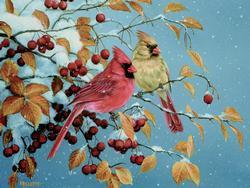 Winter Cardinals Winter Jigsaw Puzzle