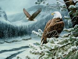 Winter Eagles Snow Jigsaw Puzzle