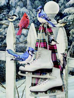 Birds with Skates Winter Jigsaw Puzzle