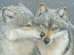Wolf Kiss Winter Jigsaw Puzzle