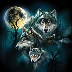 Wolf Family Collage - Scratch and Dent Wolves Jigsaw Puzzle