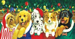 Stocking Puppies Dogs Jigsaw Puzzle