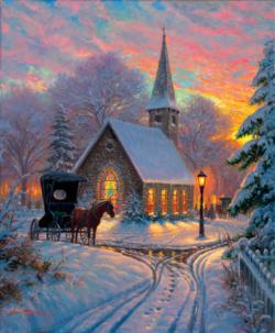 Carriage Chapel Snow Jigsaw Puzzle