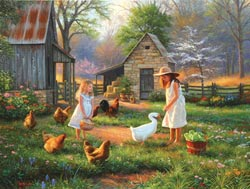 Evening at Grandma's Chickens & Roosters Jigsaw Puzzle