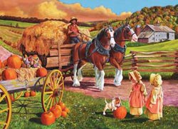 Hay Wagon Thanksgiving Large Piece