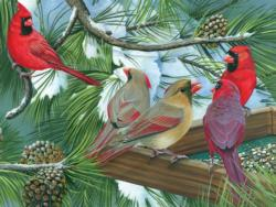 Cardinals at the Feeder Winter Large Piece