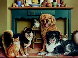 Family Portrait Dogs Large Piece