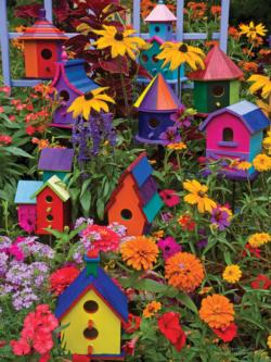Birdhouses Flowers Large Piece