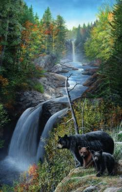 Bears at the Waterfall - Scratch and Dent Waterfalls Jigsaw Puzzle