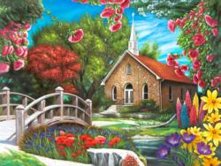 Serenity Church Flowers Jigsaw Puzzle