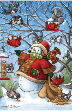 Birdfeeder Snowman - Scratch and Dent Winter Jigsaw Puzzle